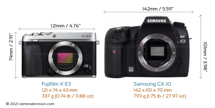 Fujifilm X-E3 vs Samsung GX-10 Camera Size Comparison - Front View