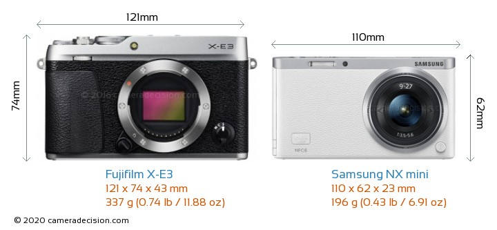Fujifilm X-E3 vs Samsung NX mini Camera Size Comparison - Front View