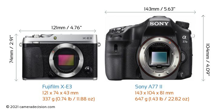 Fujifilm X-E3 vs Sony A77 II Camera Size Comparison - Front View