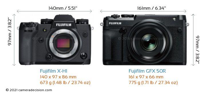 Fujifilm X-H1 vs Fujifilm GFX 50R Camera Size Comparison - Front View
