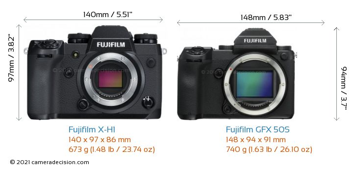 Fujifilm X-H1 vs Fujifilm GFX 50S Camera Size Comparison - Front View