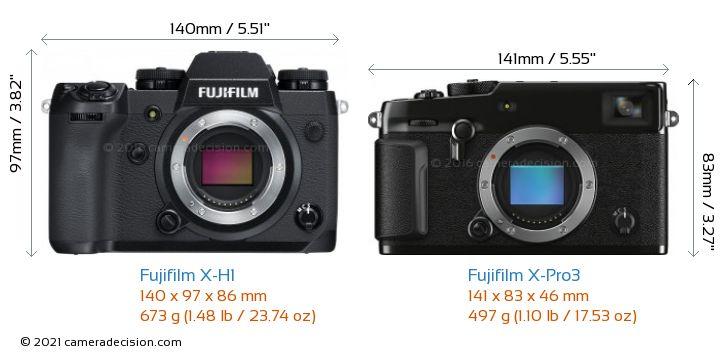 Fujifilm X-H1 vs Fujifilm X-Pro3 Camera Size Comparison - Front View