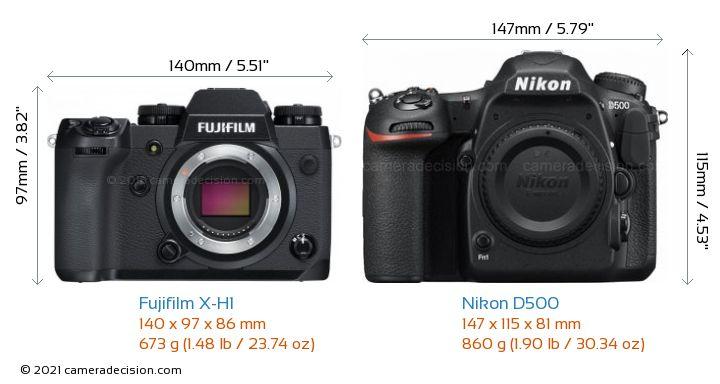 Fujifilm X-H1 vs Nikon D500 Camera Size Comparison - Front View