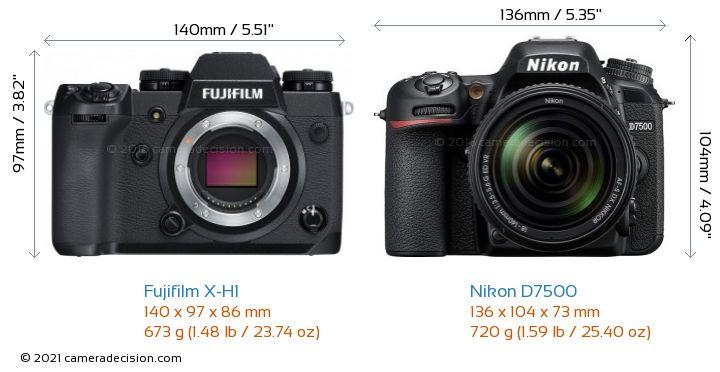 Fujifilm X-H1 vs Nikon D7500 Camera Size Comparison - Front View