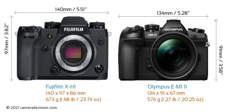 Fujifilm X-H1 vs Olympus E-M1 II Camera Size Comparison - Front View