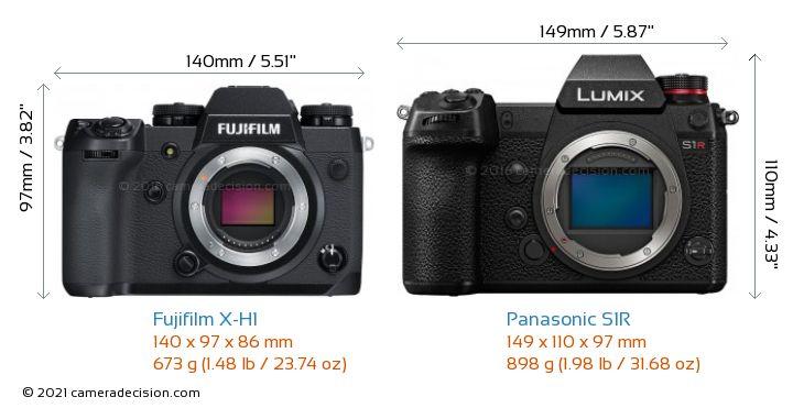 Fujifilm X-H1 vs Panasonic S1R Camera Size Comparison - Front View