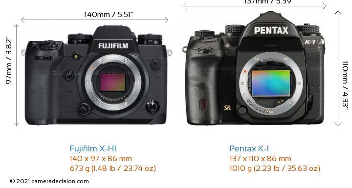 Fujifilm X-H1 vs Pentax K-1 Camera Size Comparison - Front View