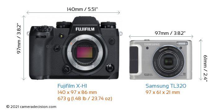 Fujifilm X-H1 vs Samsung TL320 Camera Size Comparison - Front View