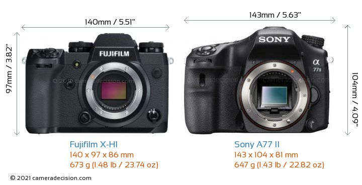 Fujifilm X-H1 vs Sony A77 II Camera Size Comparison - Front View