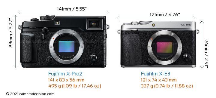 Fujifilm X-Pro2 vs Fujifilm X-E3 Camera Size Comparison - Front View