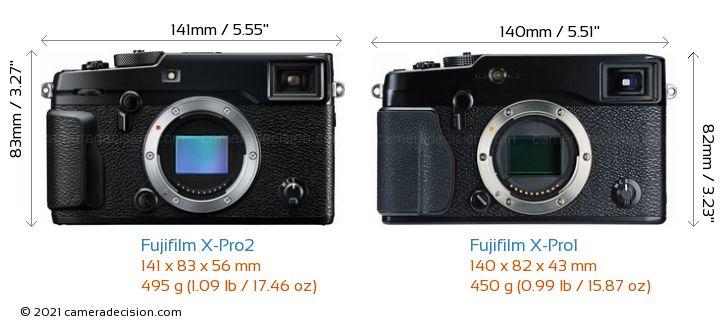 Fujifilm X-Pro2 vs Fujifilm X-Pro1 Camera Size Comparison - Front View