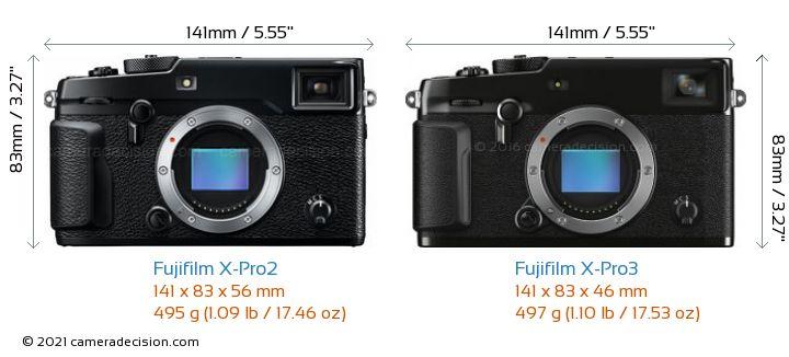 Fujifilm X-Pro2 vs Fujifilm X-Pro3 Camera Size Comparison - Front View
