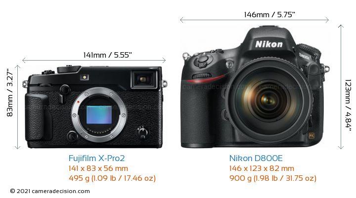 Fujifilm X-Pro2 vs Nikon D800E Camera Size Comparison - Front View