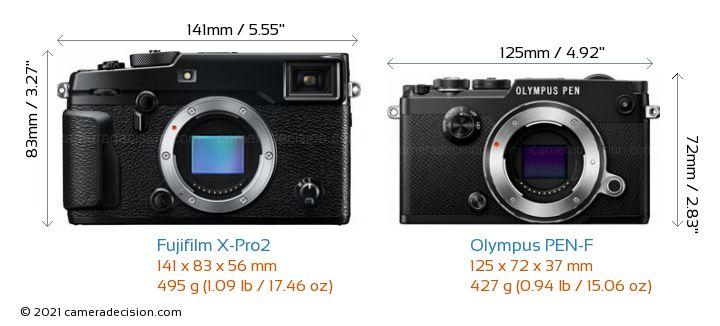 Fujifilm X-Pro2 vs Olympus PEN-F Camera Size Comparison - Front View
