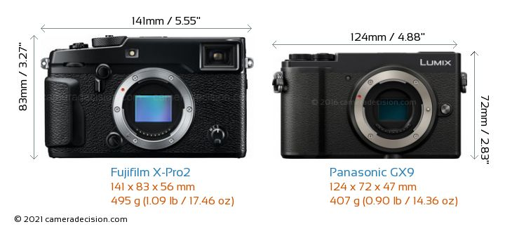 Fujifilm X-Pro2 vs Panasonic GX9 Camera Size Comparison - Front View