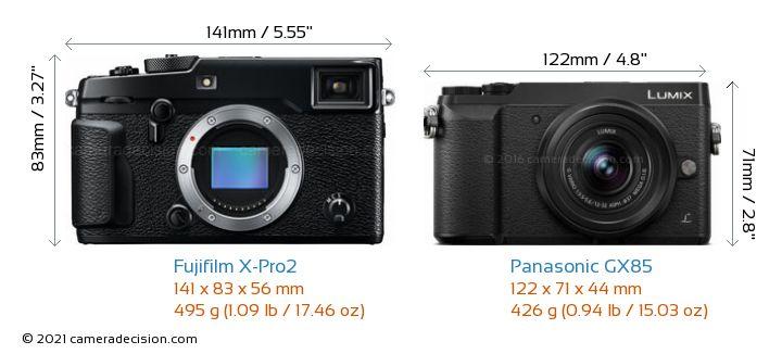 Fujifilm X-Pro2 vs Panasonic GX85 Camera Size Comparison - Front View