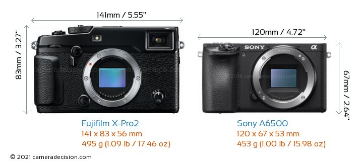 Fujifilm X-Pro2 vs Sony A6500 Camera Size Comparison - Front View