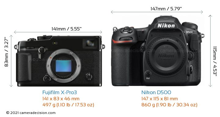 Fujifilm X-Pro3 vs Nikon D500 Camera Size Comparison - Front View