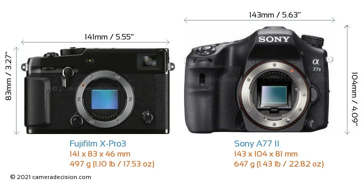 Fujifilm X-Pro3 vs Sony A77 II Camera Size Comparison - Front View