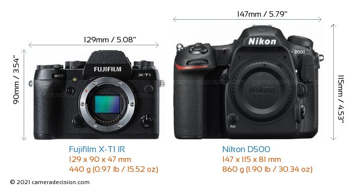 Fujifilm X-T1 IR vs Nikon D500 Camera Size Comparison - Front View