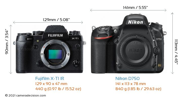 Fujifilm X-T1 IR vs Nikon D750 Camera Size Comparison - Front View