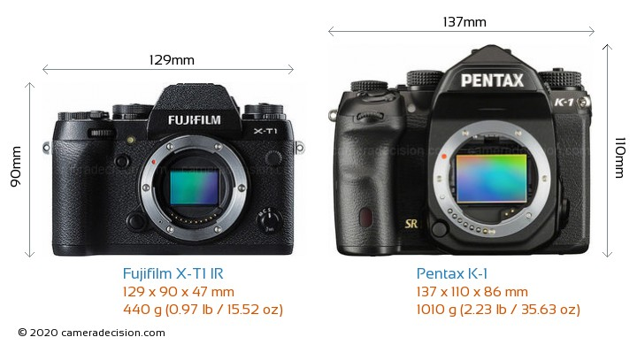 Fujifilm X-T1 IR vs Pentax K-1 Camera Size Comparison - Front View