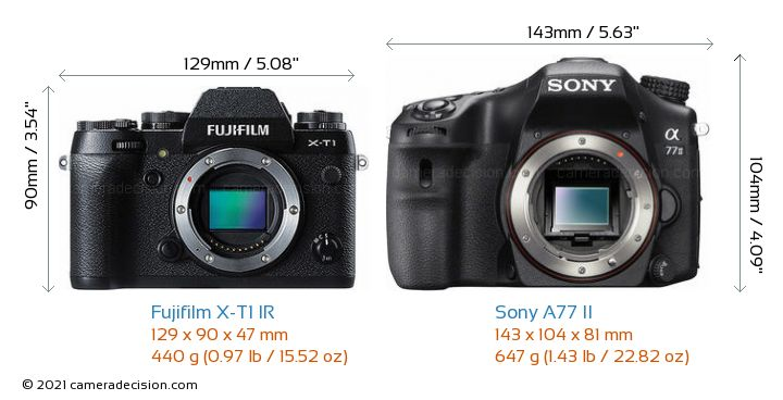 Fujifilm X-T1 IR vs Sony A77 II Camera Size Comparison - Front View