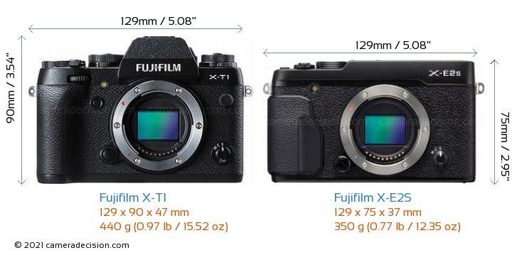 Fujifilm X-T1 vs Fujifilm X-E2S Camera Size Comparison - Front View
