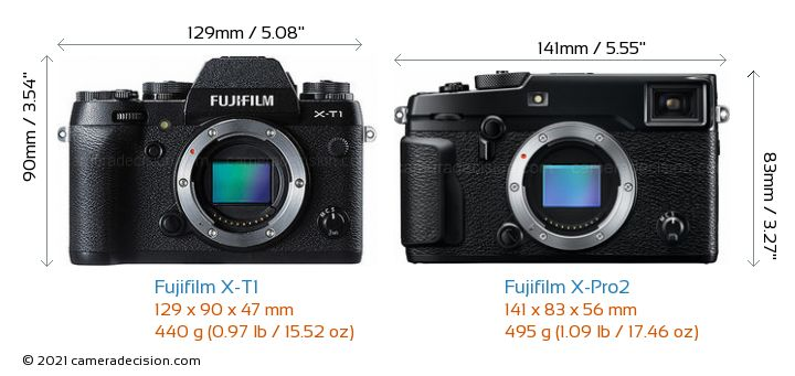 Fujifilm X-T1 vs Fujifilm X-Pro2 Camera Size Comparison - Front View
