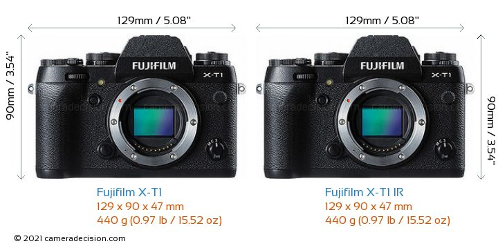 Fujifilm X-T1 vs Fujifilm X-T1 IR Camera Size Comparison - Front View
