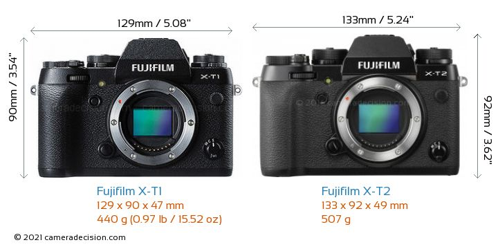 Fujifilm X-T1 vs Fujifilm X-T2 Camera Size Comparison - Front View