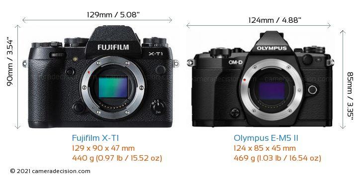 Fujifilm X-T1 vs Olympus E-M5 II Camera Size Comparison - Front View