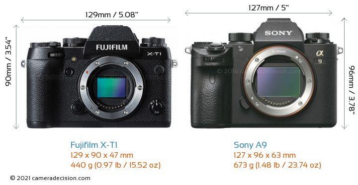 Fujifilm X-T1 vs Sony A9 Camera Size Comparison - Front View