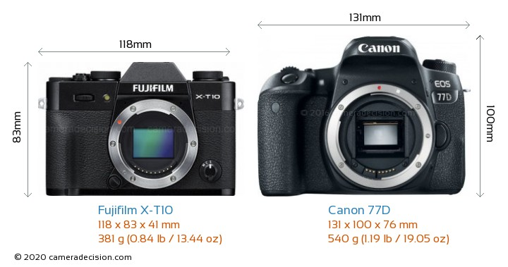 Fujifilm X-T10 vs Canon 77D Camera Size Comparison - Front View