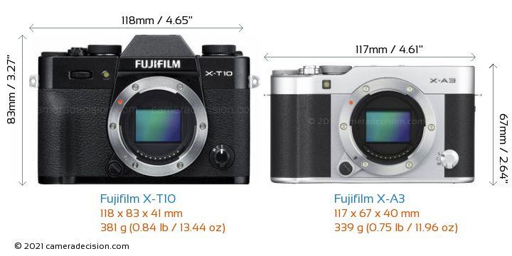 Fujifilm X-T10 vs Fujifilm X-A3 Camera Size Comparison - Front View