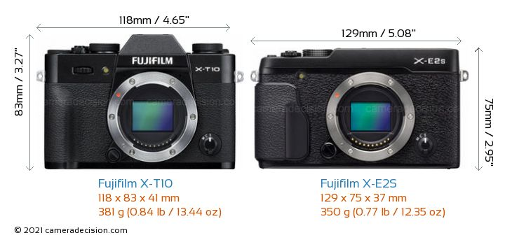 Fujifilm X-T10 vs Fujifilm X-E2S Camera Size Comparison - Front View