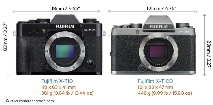 Fujifilm X-T10 vs Fujifilm X-T100 Camera Size Comparison - Front View