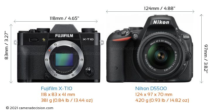 Fujifilm X-T10 vs Nikon D5500 Camera Size Comparison - Front View