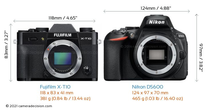 Fujifilm X-T10 vs Nikon D5600 Camera Size Comparison - Front View