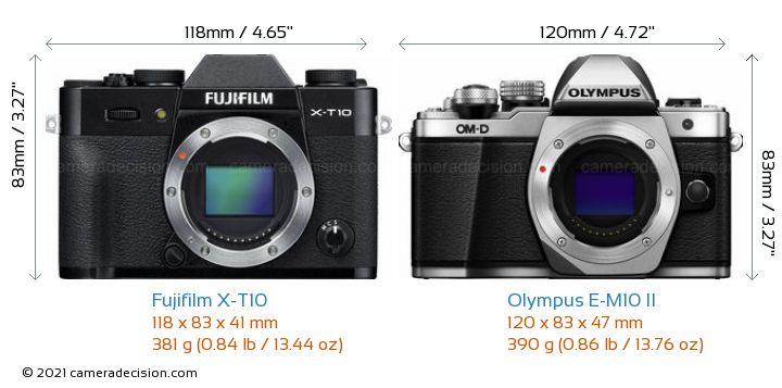 Fujifilm X-T10 vs Olympus E-M10 II Camera Size Comparison - Front View