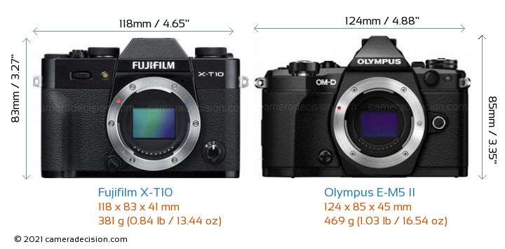 Fujifilm X-T10 vs Olympus E-M5 II Camera Size Comparison - Front View
