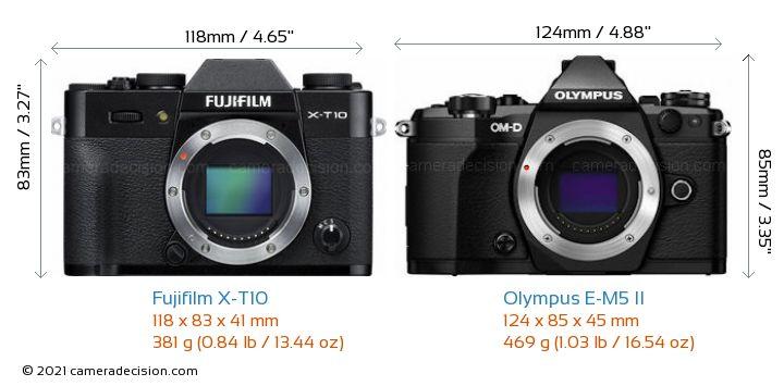 Fujifilm X-T10 vs Olympus E-M5 II Camera Size Comparison - Front View