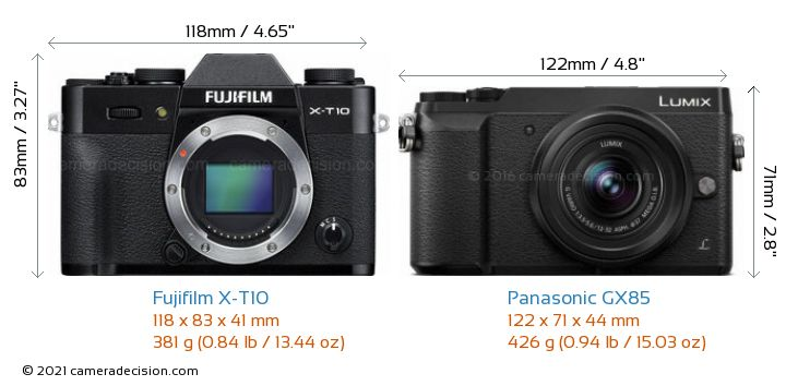 Fujifilm X-T10 vs Panasonic GX85 Camera Size Comparison - Front View