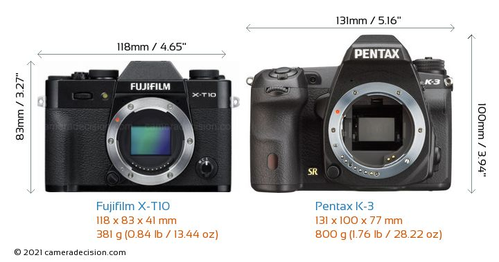 Fujifilm X-T10 vs Pentax K-3 Camera Size Comparison - Front View