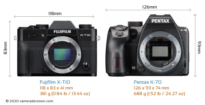 Fujifilm X-T10 vs Pentax K-70 Camera Size Comparison - Front View