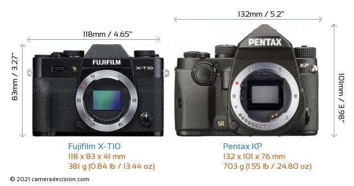 Fujifilm X-T10 vs Pentax KP Camera Size Comparison - Front View