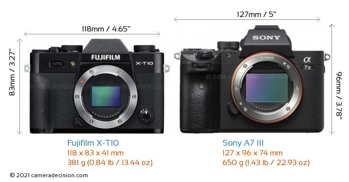 Fujifilm X-T10 vs Sony A7 III Camera Size Comparison - Front View