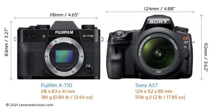 Fujifilm X-T10 vs Sony A37 Camera Size Comparison - Front View