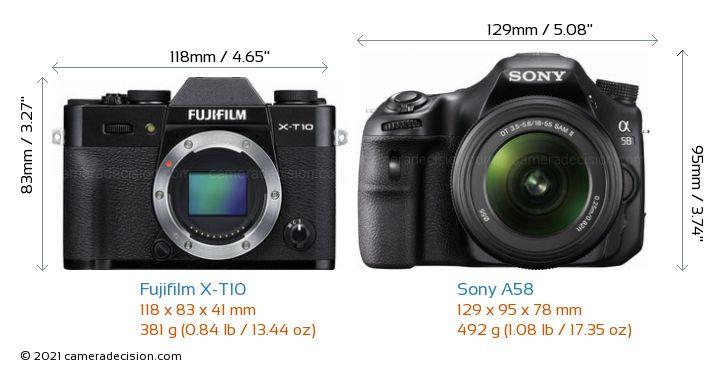 Fujifilm X-T10 vs Sony A58 Camera Size Comparison - Front View
