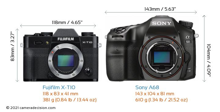 Fujifilm X-T10 vs Sony A68 Camera Size Comparison - Front View